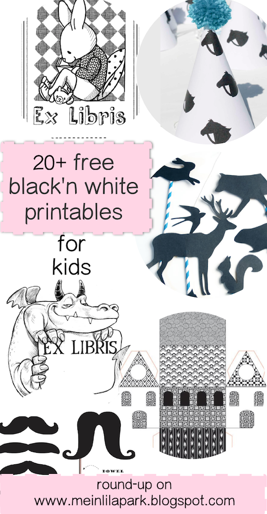 FREE black-and-white printables kids will love
