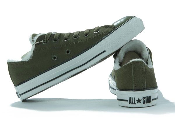 399bba0844fec1 Converse-All-star-Shearling-Army-green-Suede-Leather-Low-Top-Shoes ...