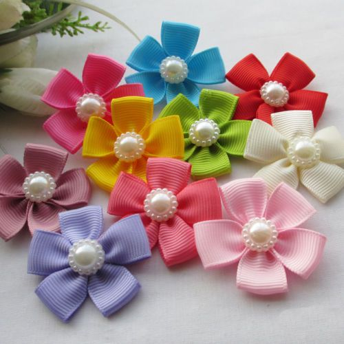 22pcs-Mix-Satin-Ribbon-Bows-Flowers-W-Peal-Sewing-Appliques-40x40mm-RB149