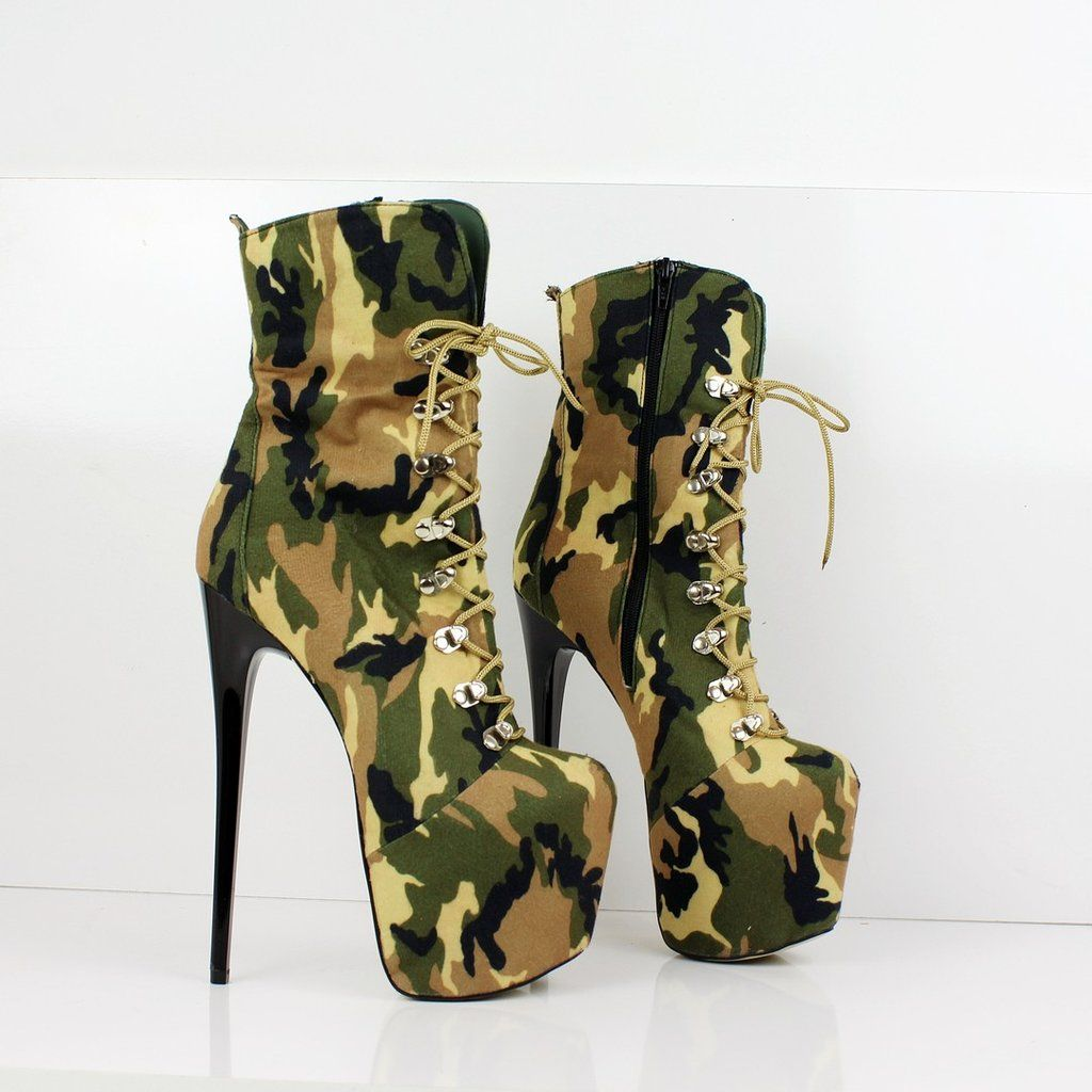 799b9d06c3039 Camouflage Lace Up High Platform Boots in 2019 | High Heel Boots ...