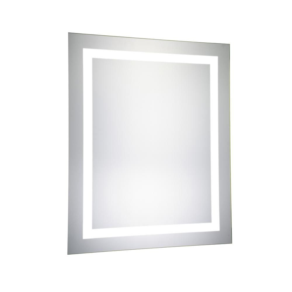 Klein 24 In X 30 In Led Wall Mirror With Rectangle Steel Frame Color Temperature 5000k In Glossy White Hdemir 12006 The Home Depot Led Mirror Elegant Lighting Electric Mirror