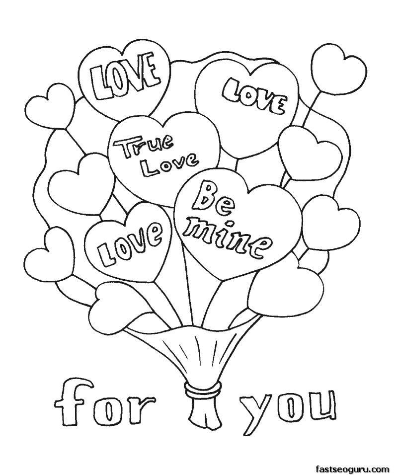 Printable Valentine Bouquet Coloring Page