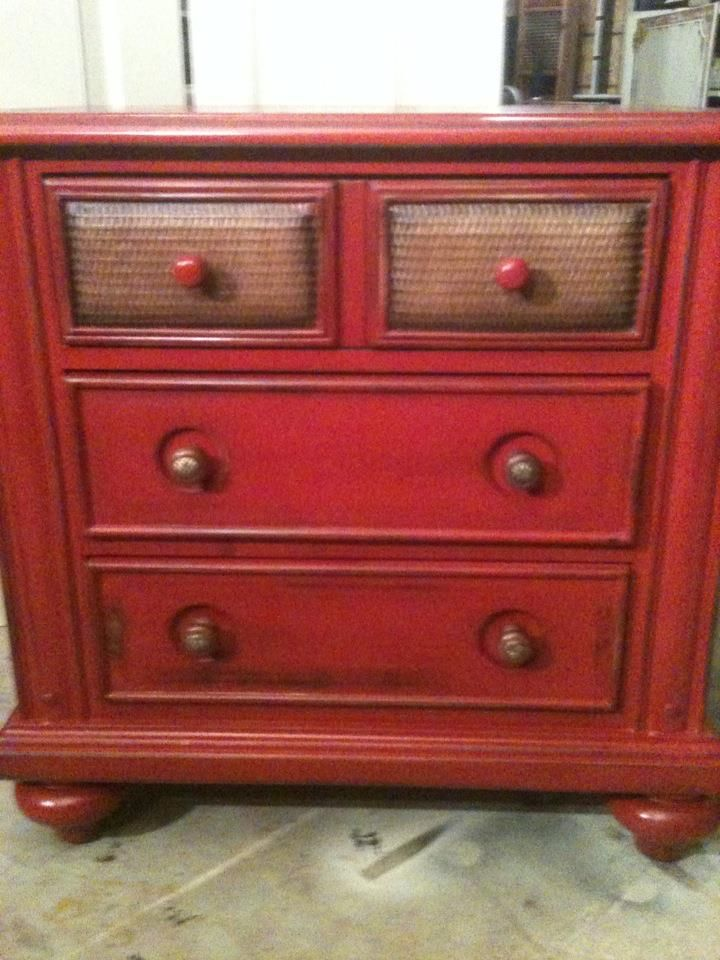 Furniture By MK Designs: Distressed Colonial Red Chest