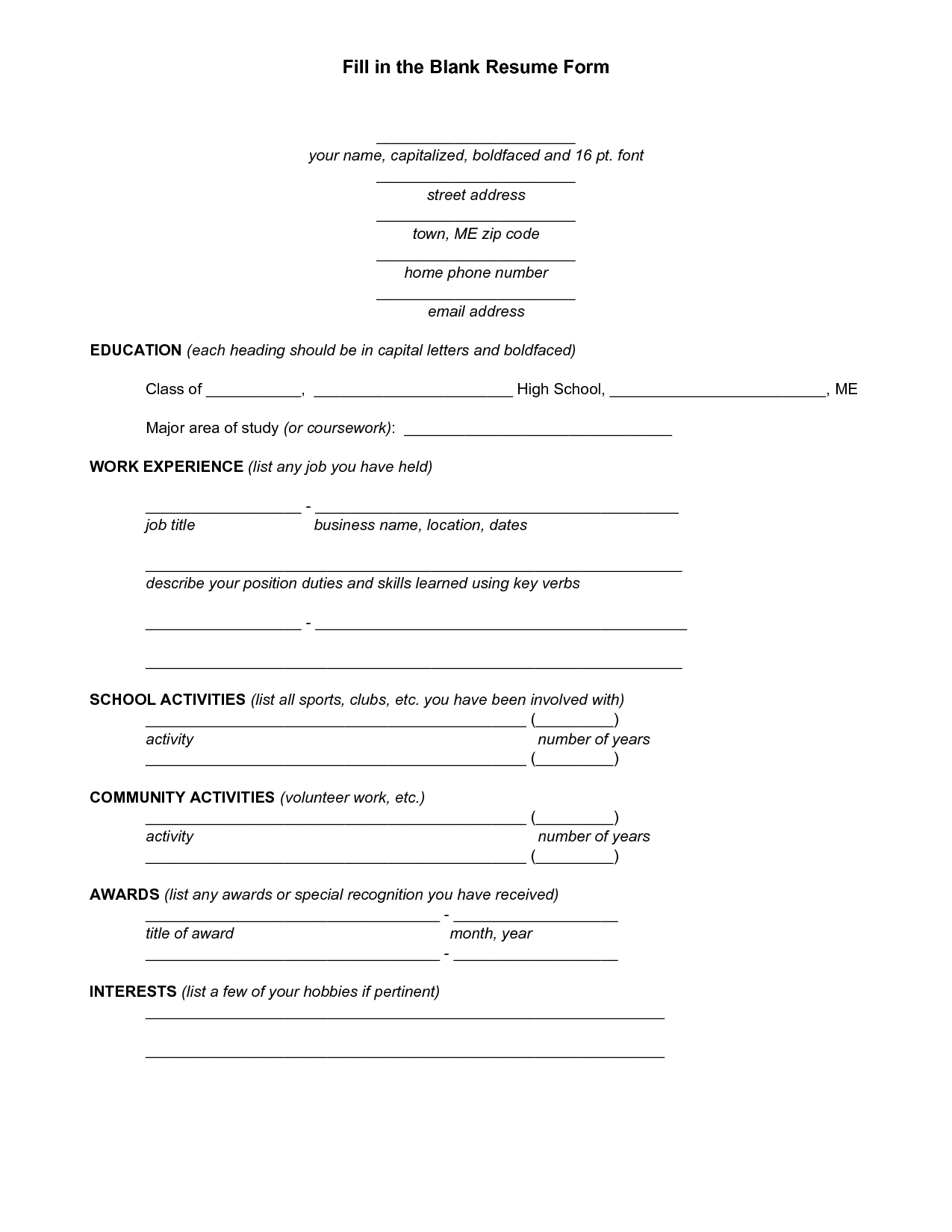 Blank resume template for high school students http for Free resume form to print out