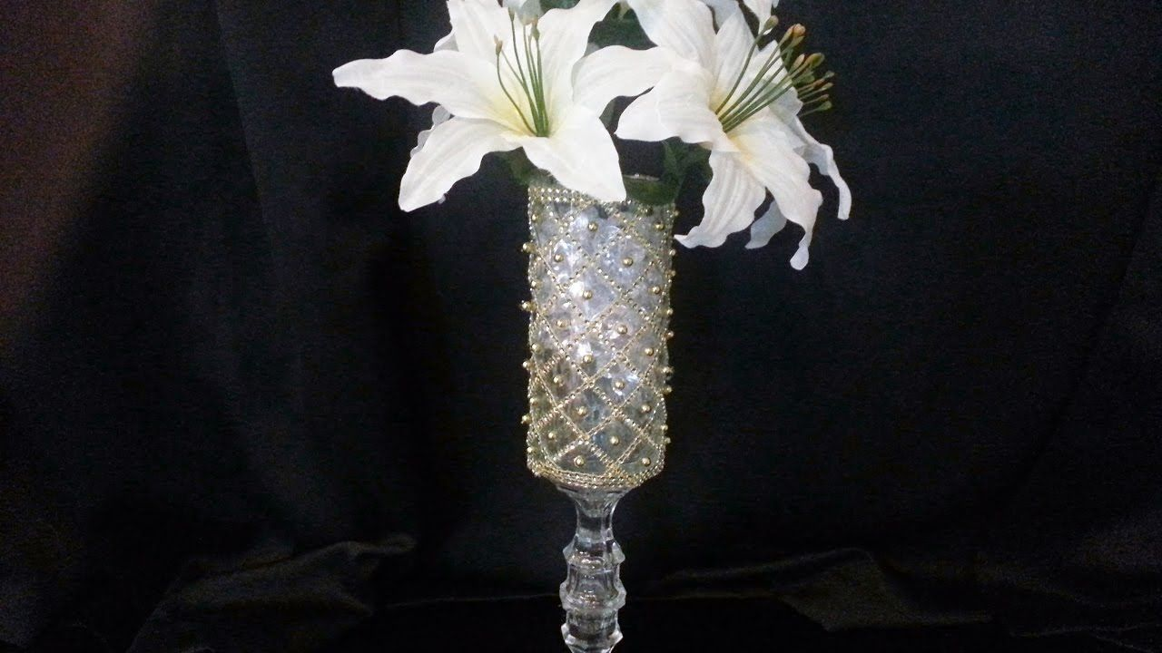 DIY Dollar Tree Gold Diagonal Design Centerpiece  Try it with