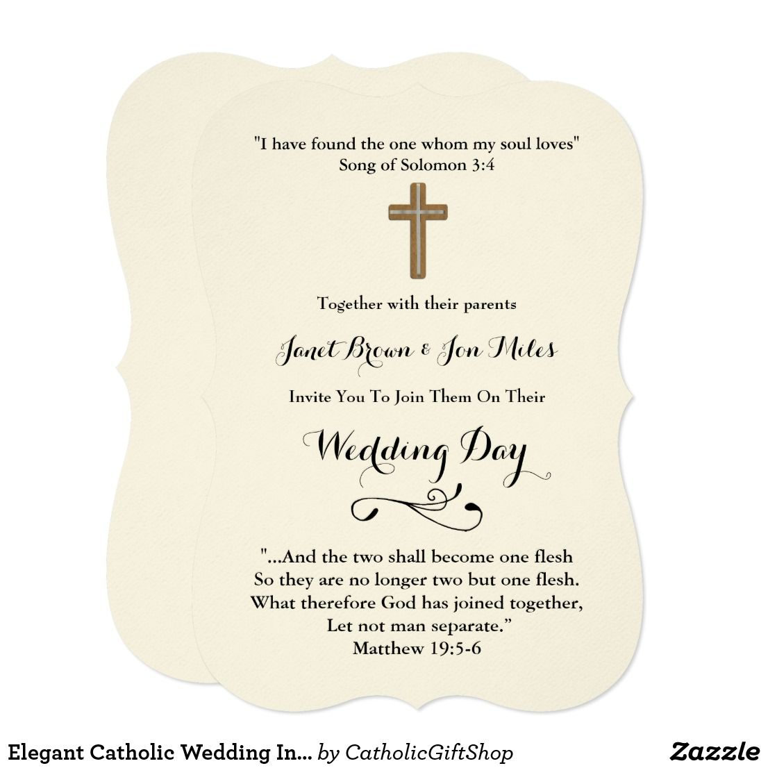 Elegant Catholic Wedding Invites With Verses