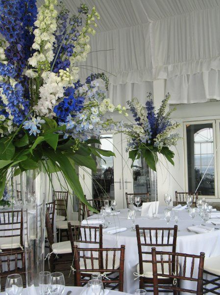 My photo album tall wedding centerpieces blue