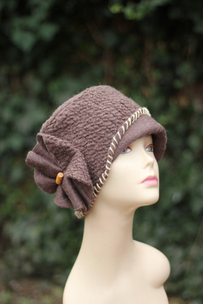 94f03084 Women's Winter Hat, Women's Hats.Hat wool fashion Brown Cloche Hat ...