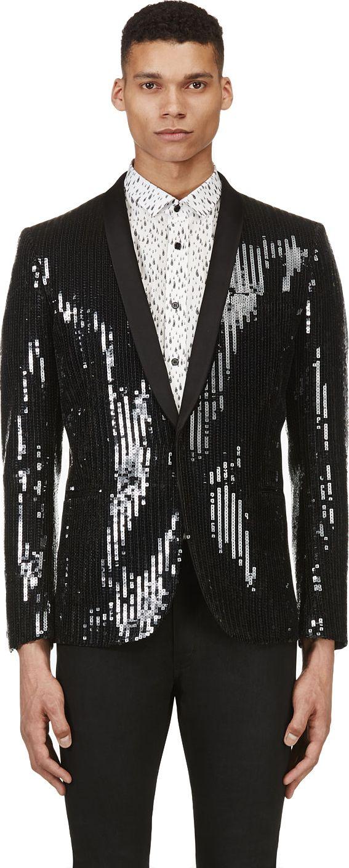 7930f4f2048 Saint Laurent - Black Sequined Blazer | SSENSE | suit design in 2019 ...