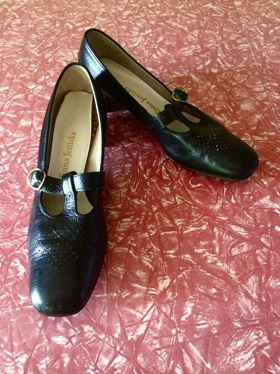 Vintage Shoes Ladies 60's Black Leather Mary by Freshandswanky, $38.00