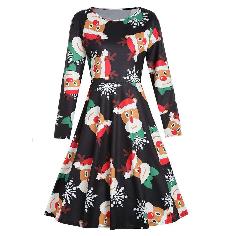 Pasato Women Long Sleeve Christmas Deer Print Vintage Evening Party Dress Skirt Plus Size Fashion Christmas Print Dresses Fashion Clothes Women [ 1000 x 1000 Pixel ]