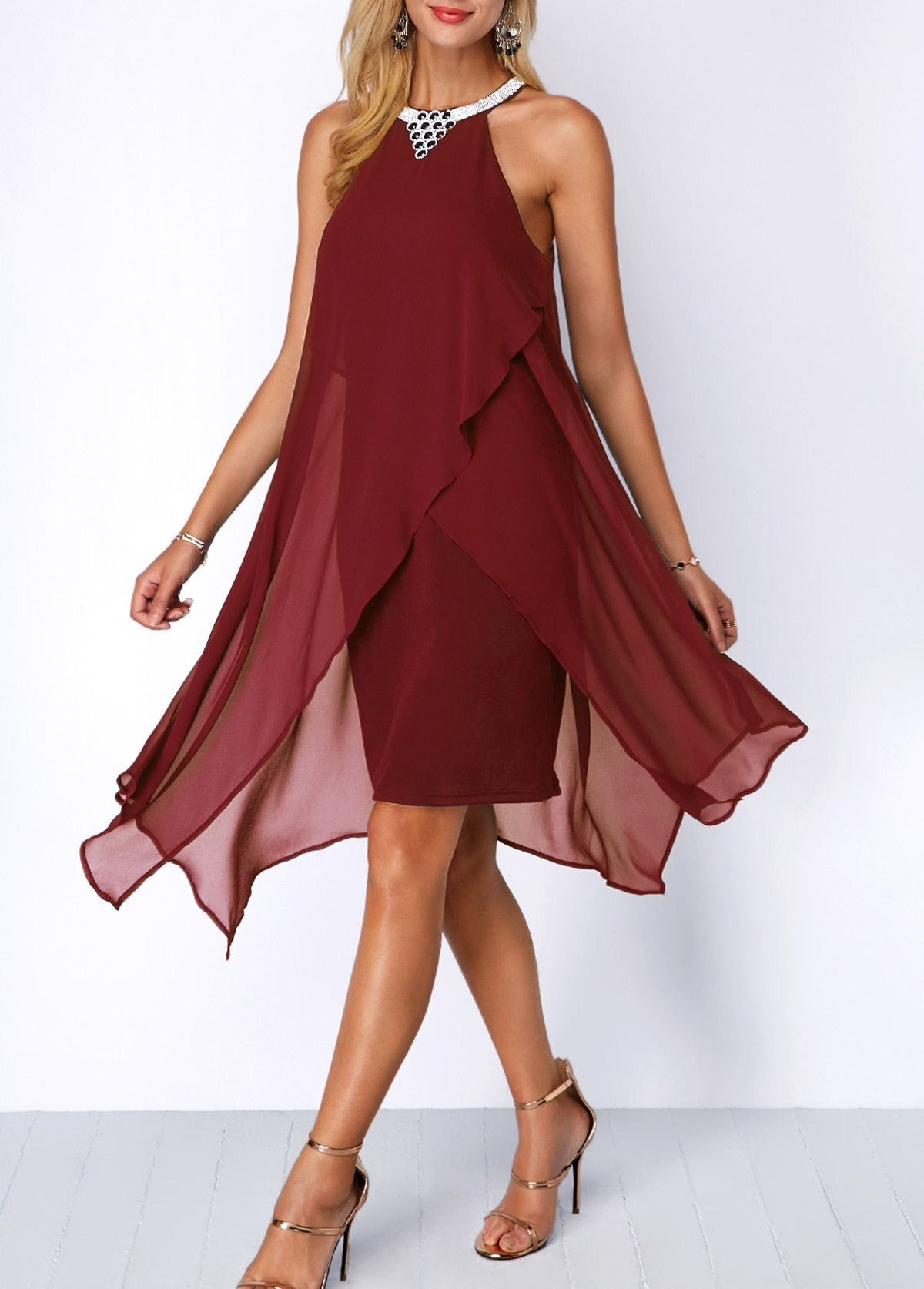 7e1167bc65b Embellished Neck Chiffon Overlay Wine Red Dress