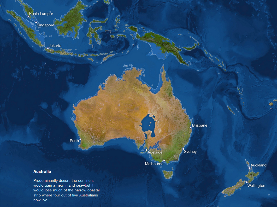 Rising Sea Map Australia Rising Sea Map New Zealand Rising Sea - Water rising map
