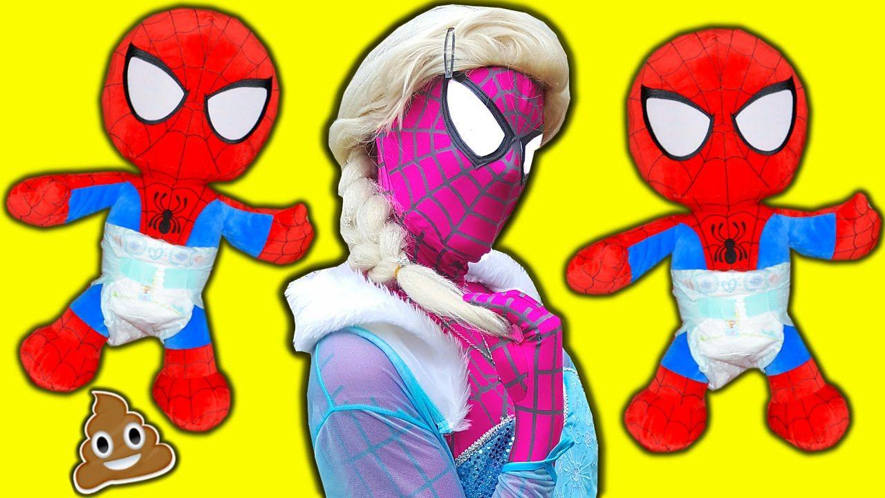 Pink Spidergirl Frozen Elsa & Spiderbaby Twins Frozen Elsa vs Spiderman ...