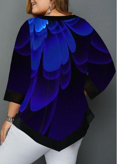 Asymmetric Hem Plus Size Flower Print Blouse   Rosewe.com – USD $30.20
