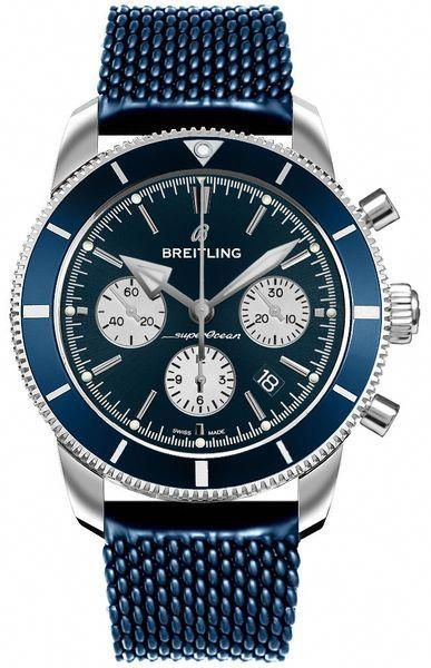 5e3f7d8b168d Breitling Superocean Heritage II B01 Chronograph 44 AB0162161C1S1 Blue Dial  Blue Aero Classic Rubber Strap Men s Watch  MensWatches