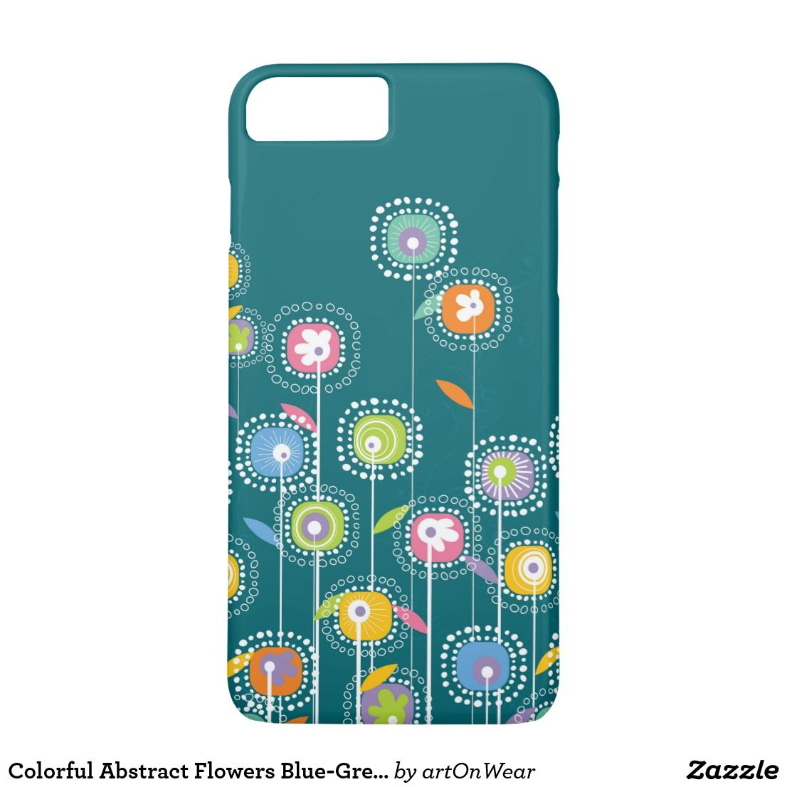 Colorful Abstract Flowers Blue-Green Background IPhone 8