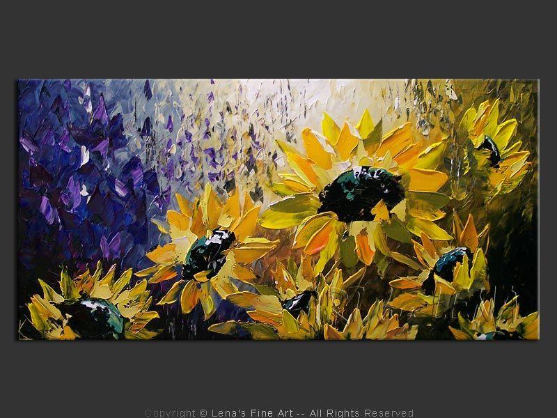 Moonlight Sunflowers Original Flower Paintings By Lena Karpinsky Http