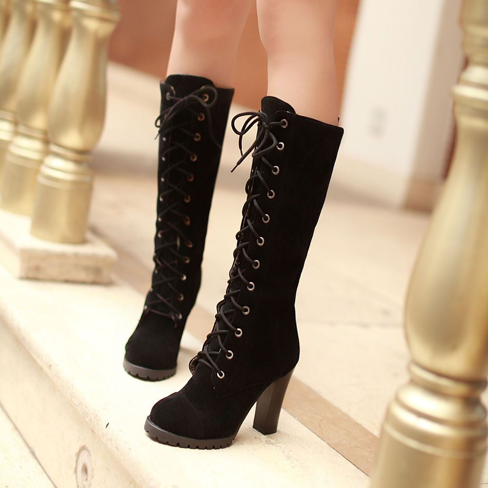 Women's Trendy Solid Lace Up Mid Chunky Heel Platform Mid Cuff Winter Boots