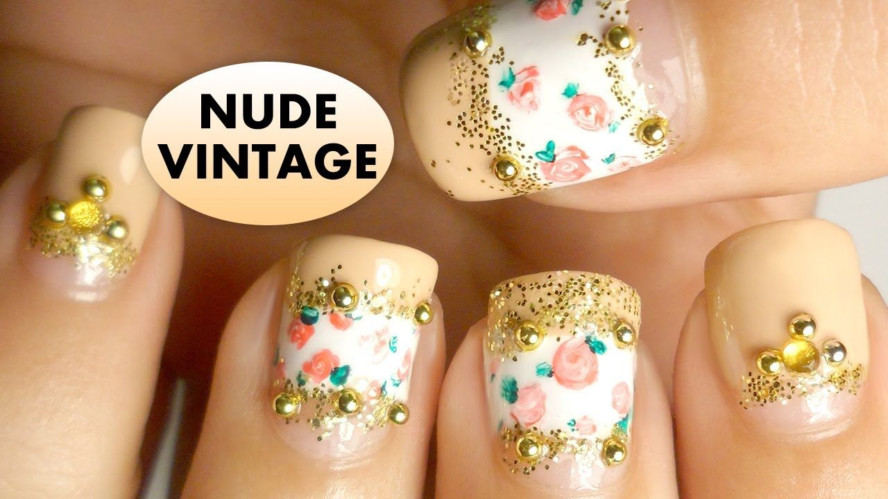 Vintage roses nude nail art tutorial for short nails hair and