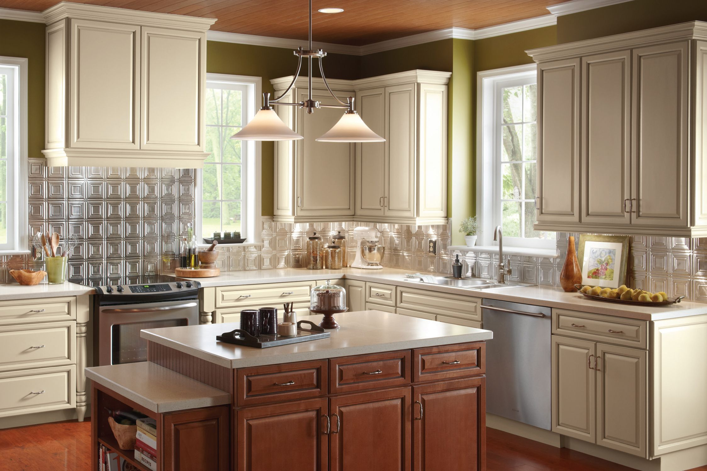 Lovely Kitchen Design With Armstrong Cabinets Plus White Countertop Plus Pretty Pendant Lamp Kitchen Cabinets Brands Kitchen Cabinets Kitchen Cabinets Reviews