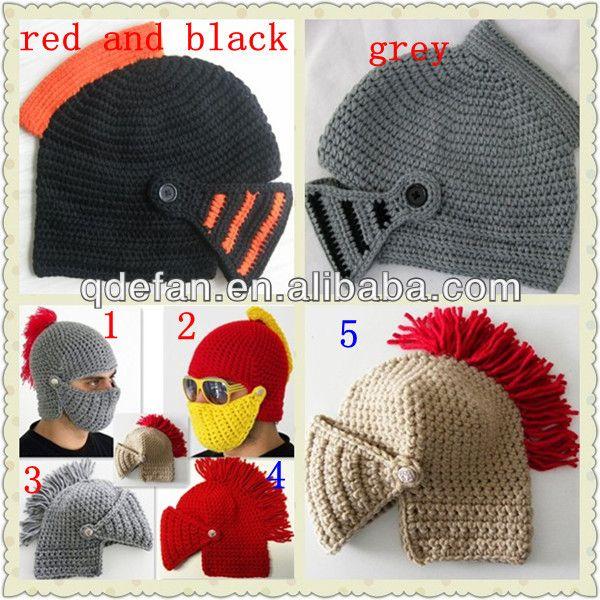 2014 sell best crochet pattern knight helmet hat beanie beard $1~$6.5