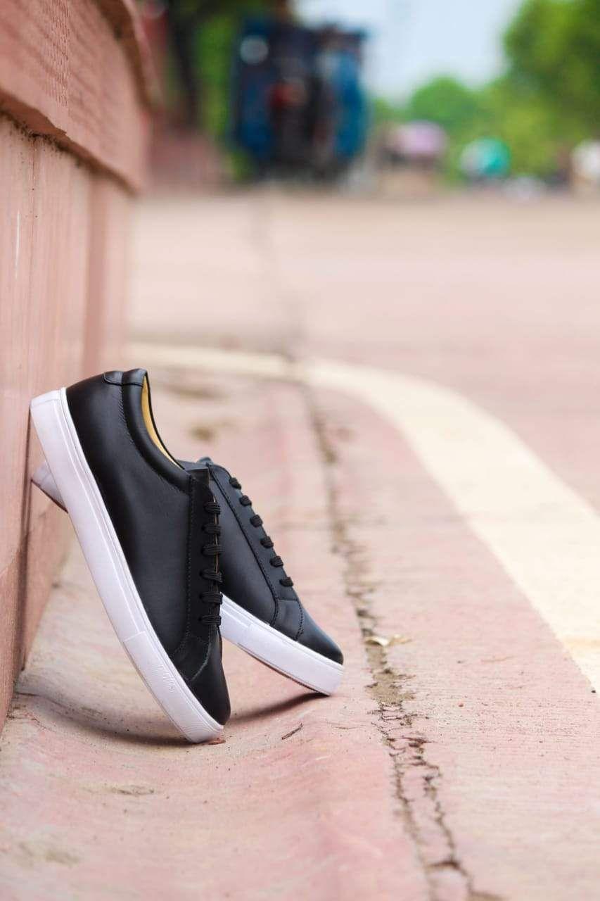 Men S Casual Black Shoe With White Sole Laces Designed By Cotton Cool Casual Black Black Shoes Classic Shoes [ 1280 x 853 Pixel ]