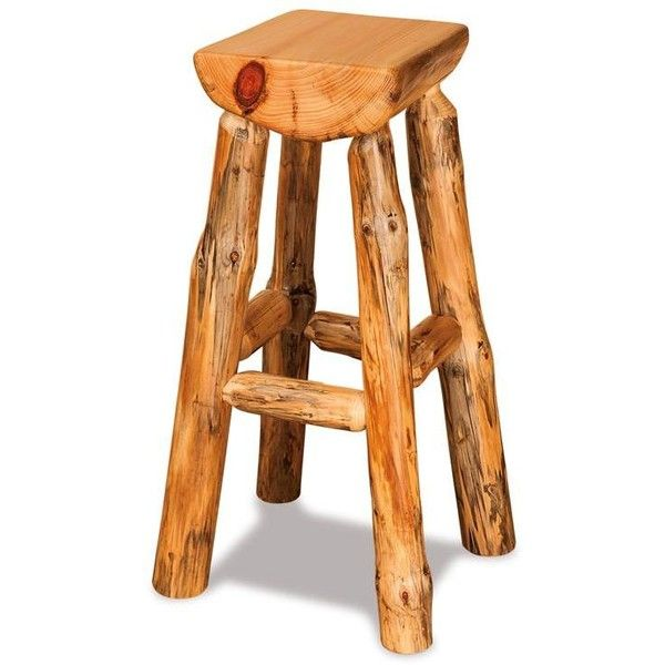 Amish Half Log Pine Bar Stool 193 Liked On Polyvore Featuring Home