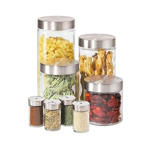 Oggi 8 Piece Round Airtight Glass Canister And Spice Jar Set With Awesome Kitchen Jar Set Decorating Inspiration