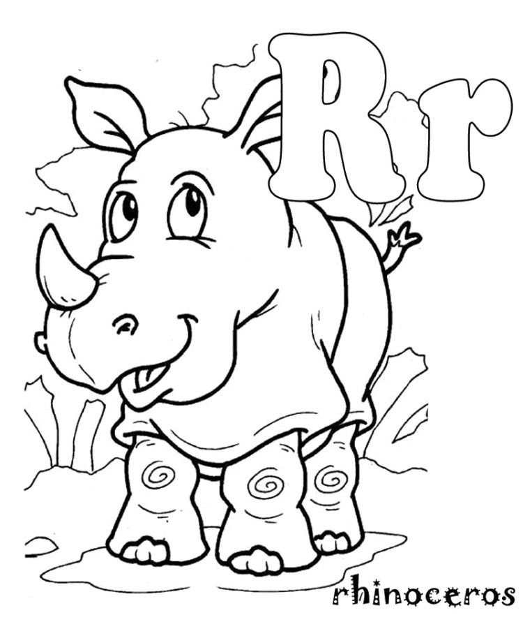 R For Rhino Coloring Pages Zoo Coloring Pages Animal Coloring