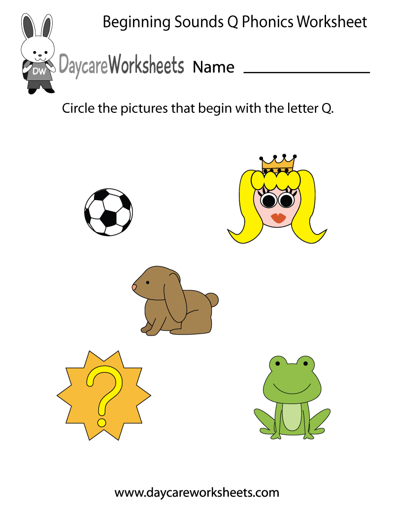 This letter Q phonics worksheet helps preschoolers identify the beginning  letter of common objects by sounding