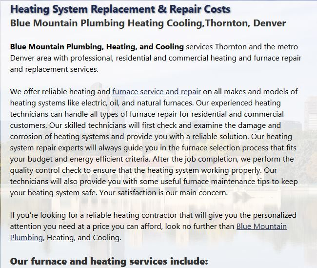 Blue Mountain Provides Full Service Furnace And Heating System