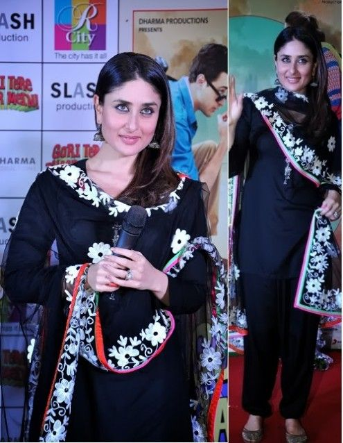 Kareena Kapoor Wear Beautiful Patiala Salwar Kameez New Fashion Suits By Bollywood Designers 1 Fashion Bollywood Fashion Celebrity Dresses