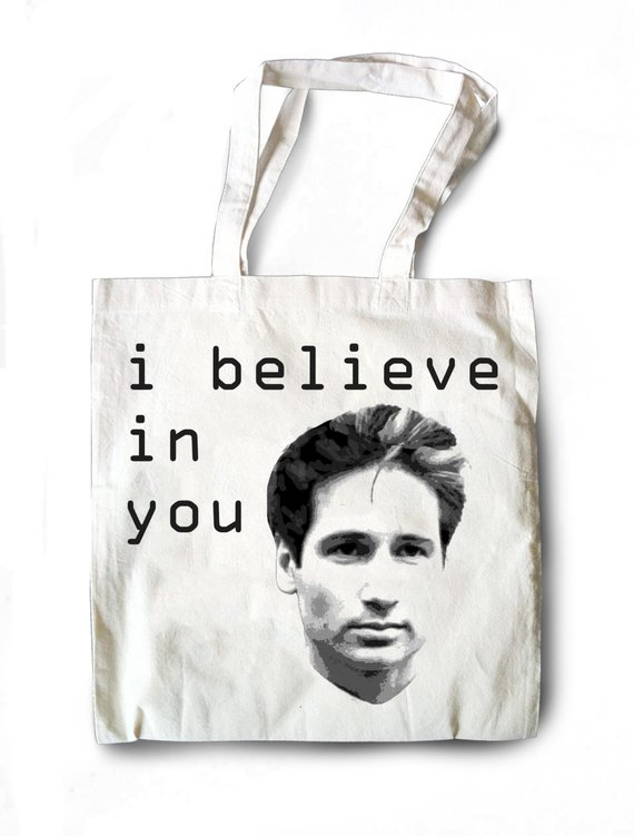 FOXY! 'The X Files' Fox Mulder I Believe Tote Bag! *Made to Order
