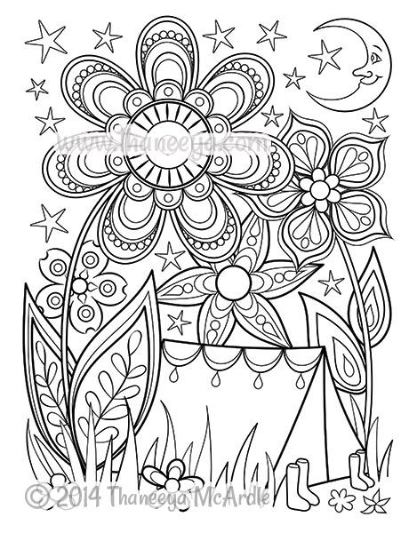 Camping coloring page from happy campers coloring book