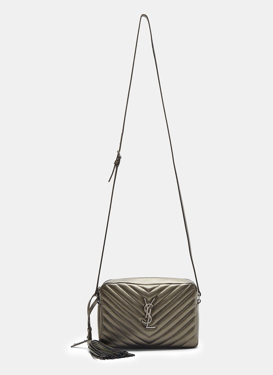 7d111c9f4fd97 SAINT LAURENT Small Lou Monogram Matelassé Camera Bag in Gunmetal. # saintlaurent #bags #shoulder bags #leather #charm #accessories #