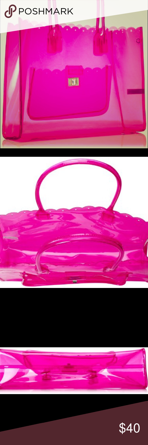 Juicy Couture plastic pink beach bag New with tags, but bought on Posh and she told me she used it once and when it gets hot it kind of molds weird, so it's kind of oddly shaped but can easily be fixed Juicy Couture Bags