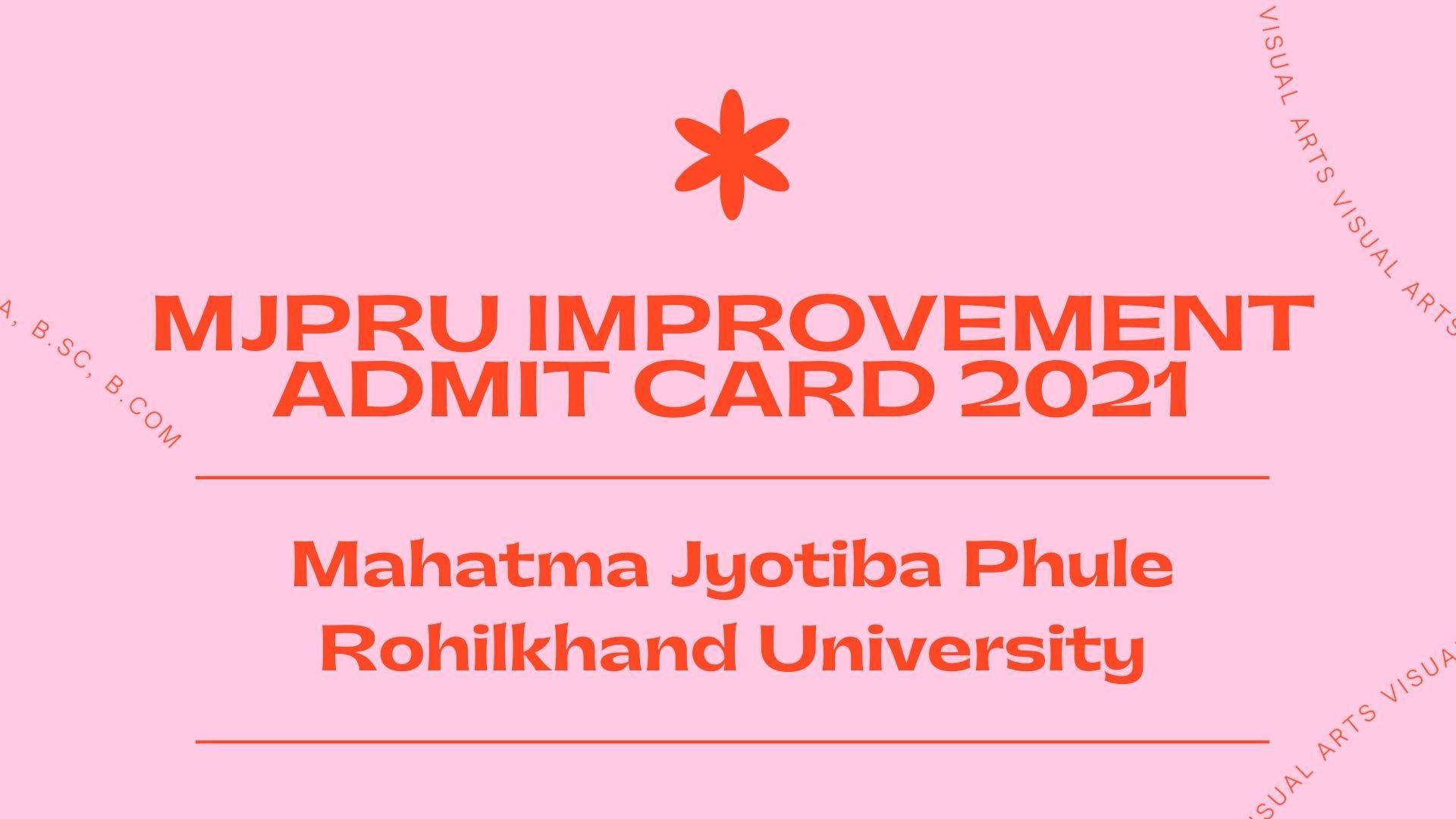 Mjpru Admit Card Name Wise 4 In 2021 University Exam Name Wise Cards