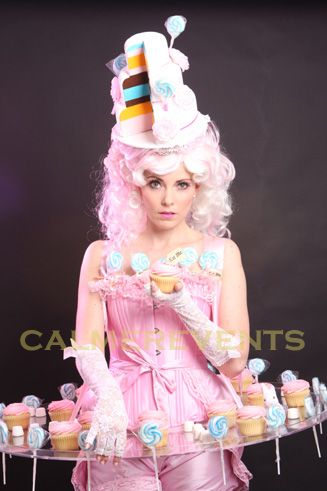 Cake Ta Da! candy hostess, wedding cake hostess, Willy Wonka canape genius - perfect for Alice in Wonderland parties, . How else will you deliver your cake in style? http://www.calmerkarma.org.uk/Candy-hostesses+usherettes.html Tel: 020 3602 9540 Available to hire across the UK inc London, Brighton, Manchester, Newcastle, Wales, Birmingham.