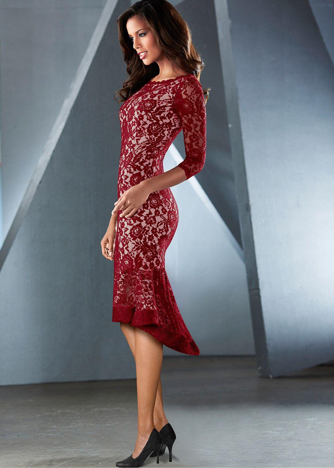 Details zu Spitzen Kleid in rot/beige festlich Party Cocktail Abend ...