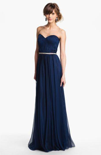 La Femme Embellished Chiffon Strapless Gown