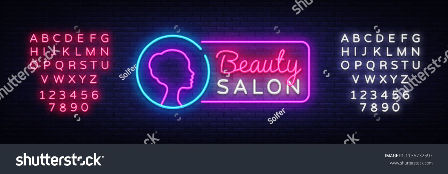 Beauty Salon Neon Sign Vector Beauty Salon Design Template Neon