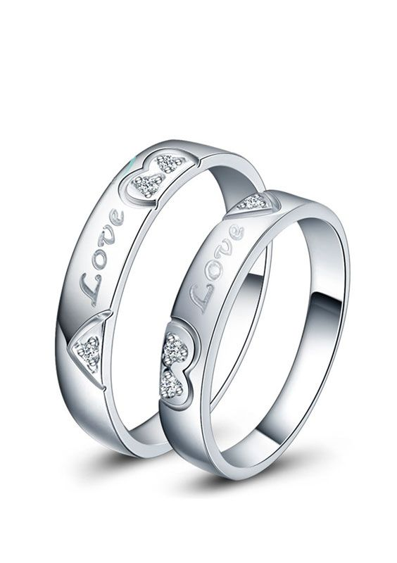 Matching Love Heart Promise Rings For Couples Engraved Wedding Rings Heart Promise Rings Promise Rings For Couples