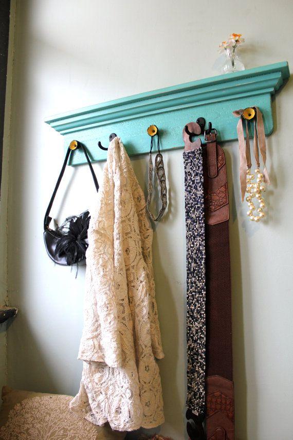 SALE Aqua Distressed Coat Rack Shelf By Bluebirdheaven On Etsy Simple Coat Rack For Sale