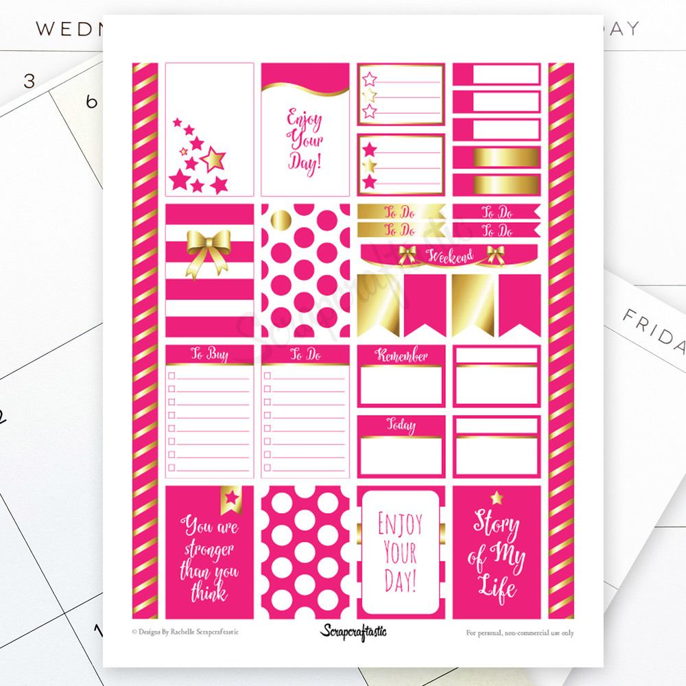 All Hot Pink Pro Printable Planner Stickers for MAMBI Happy Planner, $2.77