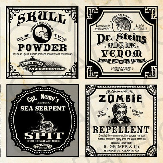 Square Halloween Witch Labels Poison Bottle Tags Potion Bottle