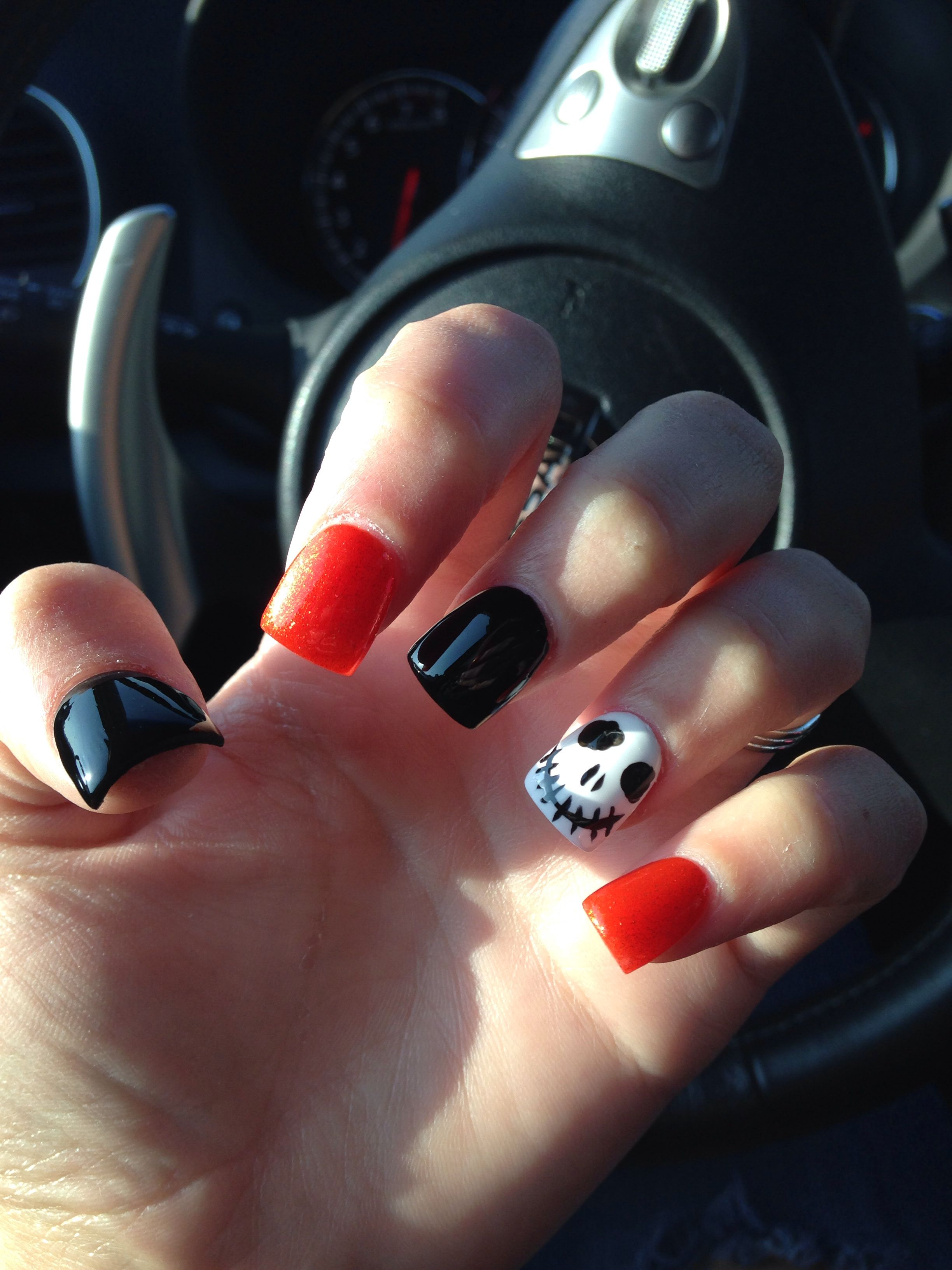 Disney halloween nails! Jack, orange, black acrylics ...
