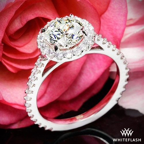 """Simply stylish, the """"Amphora"""" Diamond Engagement Ring sizzles with Round Brilliant Diamond Melee. This halo design is the perfect showcase for your diamond."""