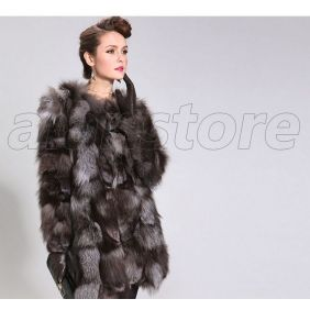 2013 Latest Style Silver Fox Fur Overcoat With Medium And Long Length Choices, Real Fur Coat For Women On Hot Sale Now
