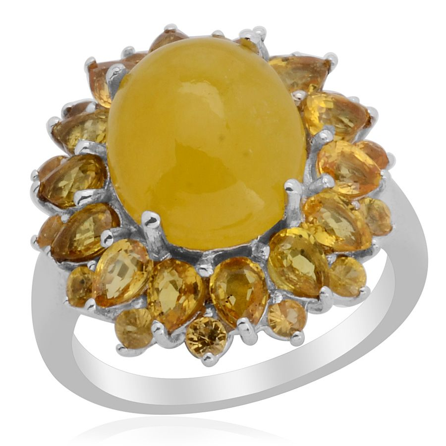 Liquidation Channel: Enhanced Yellow Jade and Yellow Sapphire Ring in Platinum Overlay Sterling Silver (Nickel Free)